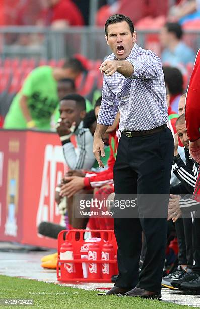 Head Coach Greg Vanney of Toronto FC during an MLS soccer game against the Houston Dynamo at BMO Field on May 10 2015 in Toronto Ontario Canada