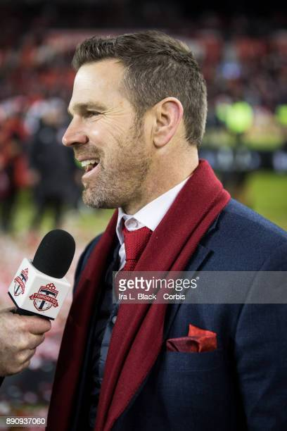 Head Coach Greg Vanney of Toronto FC talks to reporters after the 2017 Audi MLS Championship Cup match between Toronto FC and Seattle Sounders FC at...