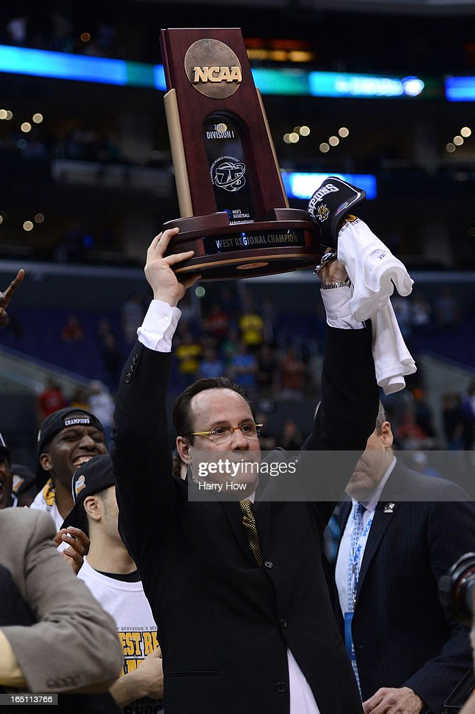 Head coach Gregg Marshall of the Wichita State Shockers holds up the West Regional Trophy after defeating the Ohio State Buckeyes 70-66 during the West Regional Final of the 2013 NCAA Men's Basketball Tournament at Staples Center on March 30, 2013 in Los Angeles, California.