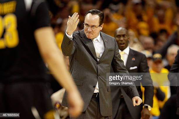 Head coach Gregg Marshall of the Wichita State Shockers reacts after a play in the second half against the Notre Dame Fighting Irish during the...