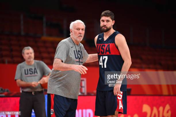 Head Coach Gregg Popovich and Joe Harris of the USA Basketball Men's National Team goes over plays during shoot around at the Shenzhen Bay Sports...