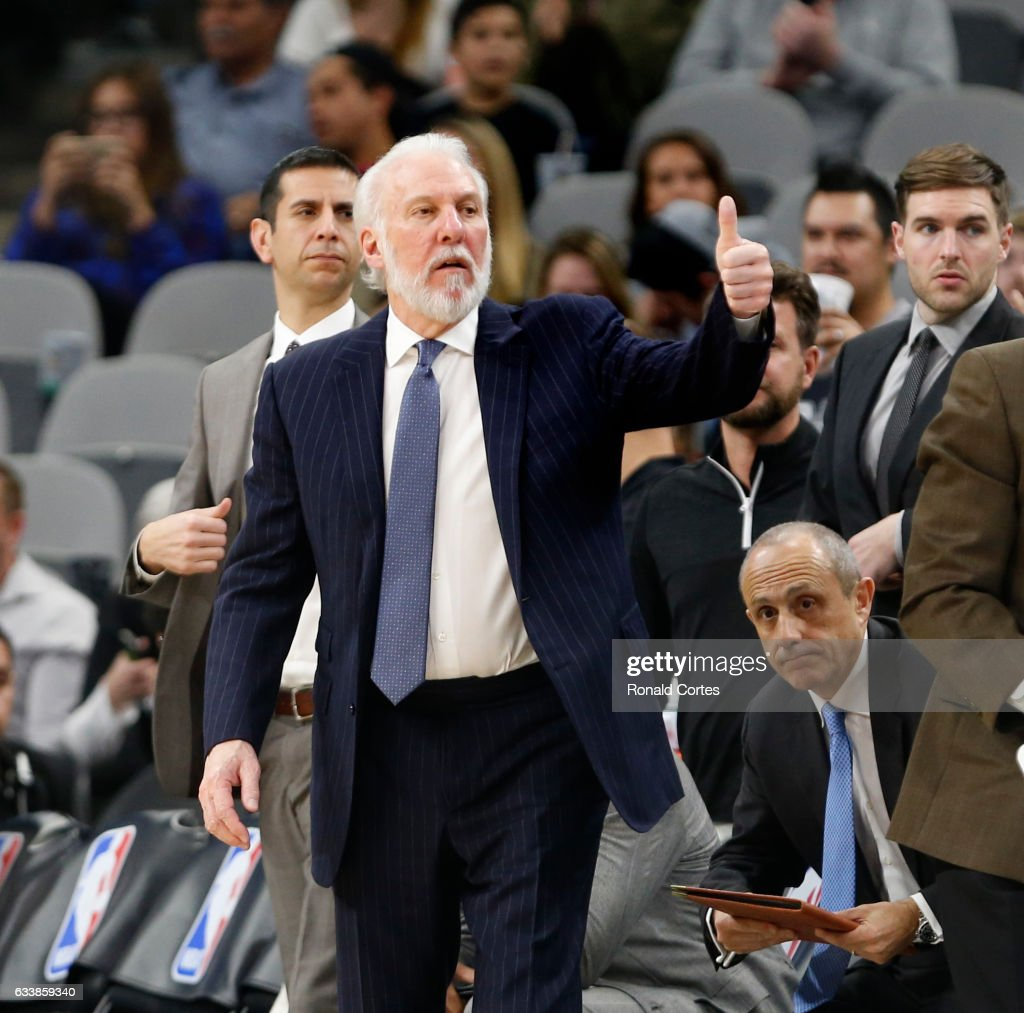 Head coach Gregg Popovich of the San Antonio Spurs acknowledges the Denver Nuggets after his win at AT&T Center on November 5, 2016 in San Antonio, Texas. With the win Popovich has the most wins with one team.