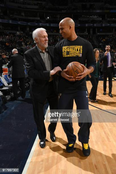 Head Coach Gregg Popovich of the San Antonio Spurs and Richard Jefferson of the Denver Nuggets talk before the game on February 13 2018 at the Pepsi...