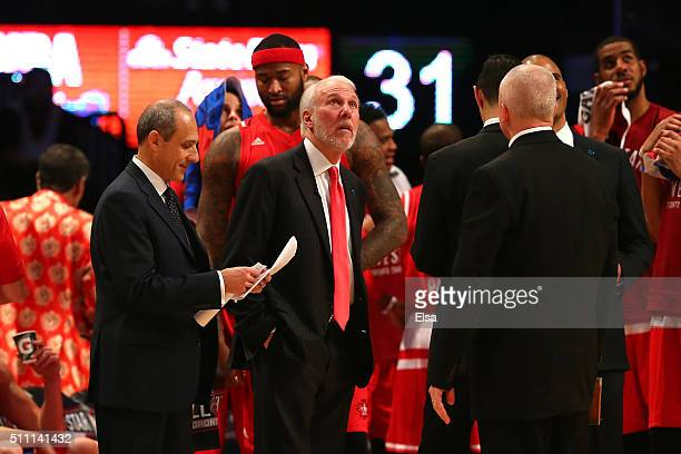 Head coach Gregg Popovich of the San Antonio Spurs and the Western Conference looks on in the first half against the Eastern Conference during the...