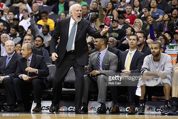 Head coach Gregg Popovich of the San Antonio Spurs argues a call against the Washington Wizards at Verizon Center on November 26 2016 in Washington...