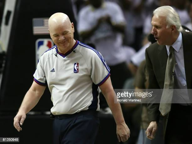 Head coach Gregg Popovich of the San Antonio Spurs argues with referee Joe Crawford while taking on the Los Angeles Lakers in Game Four of the...