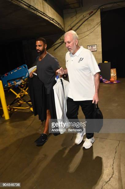 Head Coach Gregg Popovich of the San Antonio Spurs arrives to the arena prior to the game against the Los Angeles Lakers on January 11 2018 at...