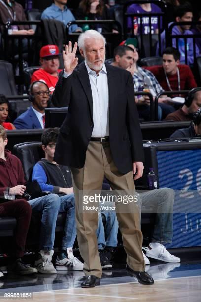 Head Coach Gregg Popovich of the San Antonio Spurs coaches against the Sacramento Kings on December 23 2017 at Golden 1 Center in Sacramento...
