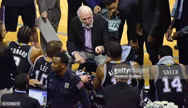 Head coach Gregg Popovich of the San Antonio Spurs coaches during the first half of Game 6 of the Western Conference Quarterfinals against the...