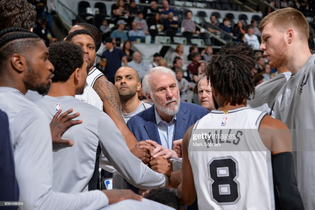Head coach Gregg Popovich of the San Antonio Spurs coaches during the game against the Orlando Magic on March 13, 2018 at the AT&T Center in San Antonio, Texas.