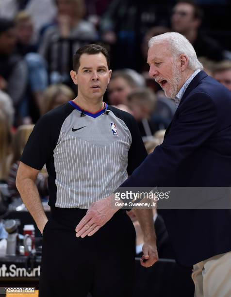 Head coach Gregg Popovich of the San Antonio Spurs complains about a call to referee Brian Forte in the second half of a NBA game against the Utah...
