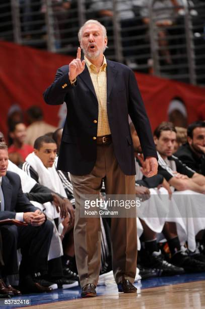 Head coach Gregg Popovich of the San Antonio Spurs directs his team against the Los Angeles Clippers at Staples Center on November 17 2008 in Los...