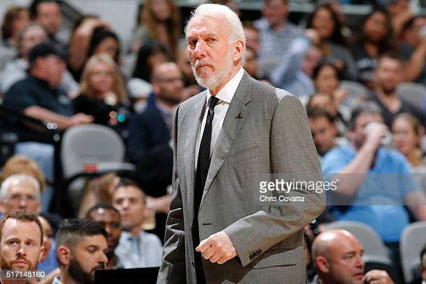 Head coach Gregg Popovich of the San Antonio Spurs during the game against the Miami Heat on March 23 2016 at ATT Center in San Antonio Texas NOTE TO...