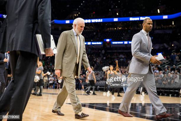 Head Coach Gregg Popovich of the San Antonio Spurs during the game against the Sacramento Kings on March 19 2017 at the ATT Center in San Antonio...
