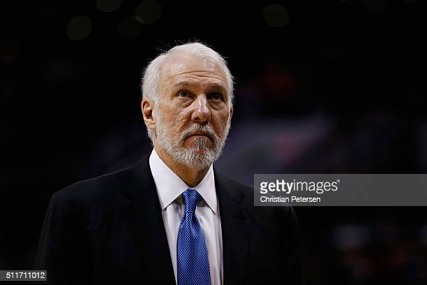 Head coach Gregg Popovich of the San Antonio Spurs during the NBA game against the Phoenix Suns at Talking Stick Resort Arena on February 21 2016 in...