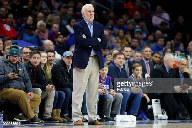 Head coach Gregg Popovich of the San Antonio Spurs follows the game against the Philadelphia 76ers in the first half at Wells Fargo Center on January...