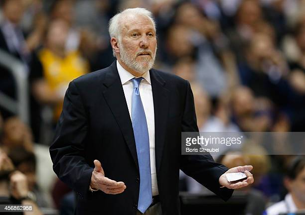 Head Coach Gregg Popovich of the San Antonio Spurs gestures during the NBA Global Games Tour 2014 match between Alba Berlin and San Antonio Spurs at...
