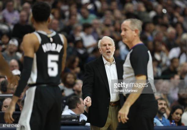 Head coach Gregg Popovich of the San Antonio Spurs in the second half at American Airlines Center on November 14 2017 in Dallas Texas NOTE TO USER...