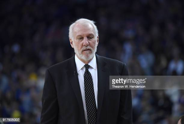 Head coach Gregg Popovich of the San Antonio Spurs looks on against the Golden State Warriors during an NBA basketball game at ORACLE Arena on...