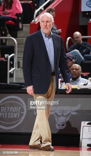 Head Coach Gregg Popovich of the San Antonio Spurs looks on during the game against the Detroit Pistons on January 7 2019 at Little Caesars Arena in...
