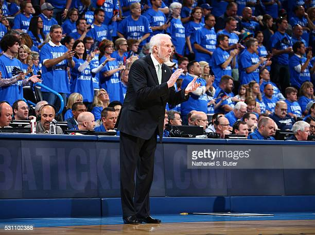 Head coach Gregg Popovich of the San Antonio Spurs looks on during the game against the Oklahoma City Thunder in Game Six of the Western Conference...
