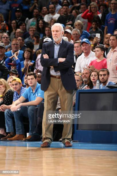 Head Coach Gregg Popovich of the San Antonio Spurs looks on during the game against the Oklahoma City Thunder on December 3 2017 at Chesapeake Energy...