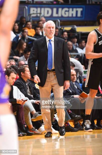 Head Coach Gregg Popovich of the San Antonio Spurs looks on during the game against the Los Angeles Lakers on January 11 2018 at STAPLES Center in...