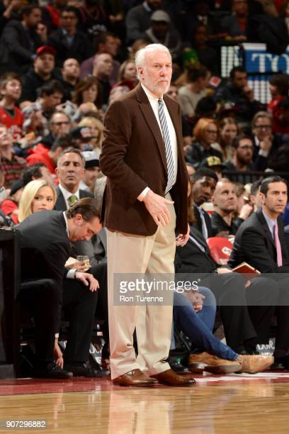 Head Coach Gregg Popovich of the San Antonio Spurs looks on during the game against the Toronto Raptors on December 5 2017 at the Air Canada Centre...