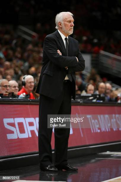 Head coach Gregg Popovich of the San Antonio Spurs looks on in the fourth quarter against the Chicago Bulls at the United Center on October 21 2017...