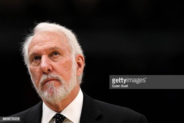 Head coach Gregg Popovich of the San Antonio Spurs looks on in the first quarter against the Chicago Bulls at the United Center on October 21 2017 in...