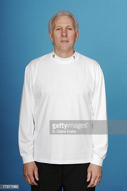 Head coach Gregg Popovich of the San Antonio Spurs poses for a portrait during NBA Media Day at the Spurs Practice Facility on October 1 2007 in San...