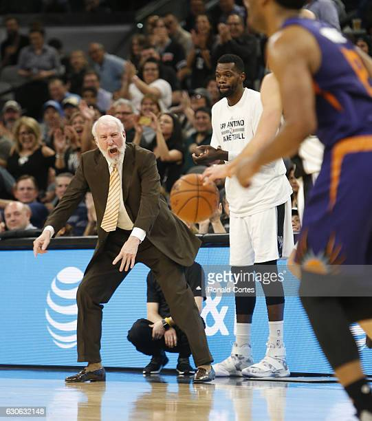 Head coach Gregg Popovich of the San Antonio Spurs reacts during game against the Phoenix Suns at ATT Center on December 14 2016 in San Antonio Texas...