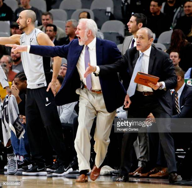 Head coach Gregg Popovich of the San Antonio Spurs reacts during game against the Cleveland Cavaliers at ATT Center on January 23 2018 in San Antonio...