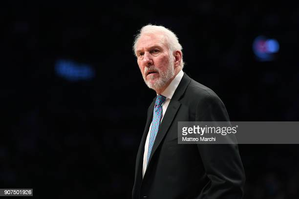 Head Coach Gregg Popovich of the San Antonio Spurs reacts during the game against the Brooklyn Nets at Barclays Center on January 17 2018 in Brooklyn...