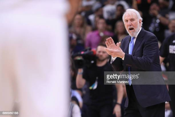 Head coach Gregg Popovich of the San Antonio Spurs reacts in the first half against the Golden State Warriors during Game Four of the 2017 NBA...