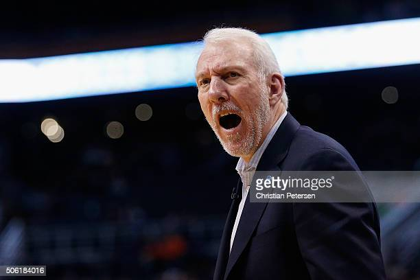 Head coach Gregg Popovich of the San Antonio Spurs reacts on the bench during the second half of the NBA game against the Phoenix Suns at Talking...
