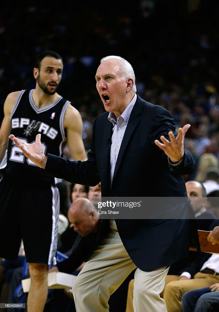 Head coach Gregg Popovich of the San Antonio Spurs shouts to his team during their loss to the Golden State Warriors at Oracle Arena on February 22, 2013 in Oakland, California.