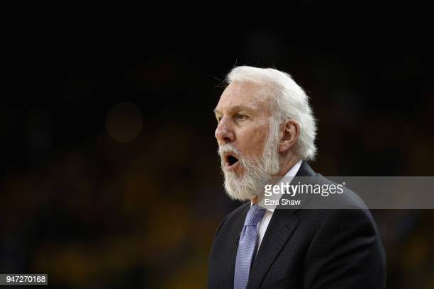 Head coach Gregg Popovich of the San Antonio Spurs shouts to his team during their game against the Golden State Warriors in Game 2 of Round 1 of the...
