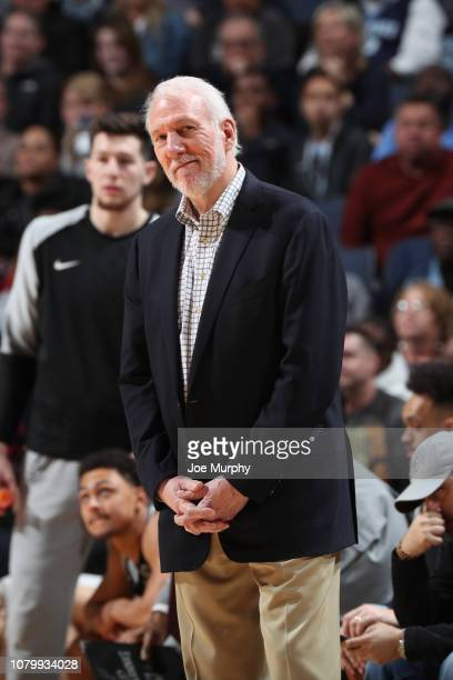 Head Coach Gregg Popovich of the San Antonio Spurs smiles during a game against the Memphis Grizzlies on January 9 2019 at FedExForum in Memphis...