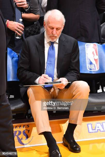 Head Coach Gregg Popovich of the San Antonio Spurs works on plays during the game against the Los Angeles Lakers on January 11 2018 at STAPLES Center...