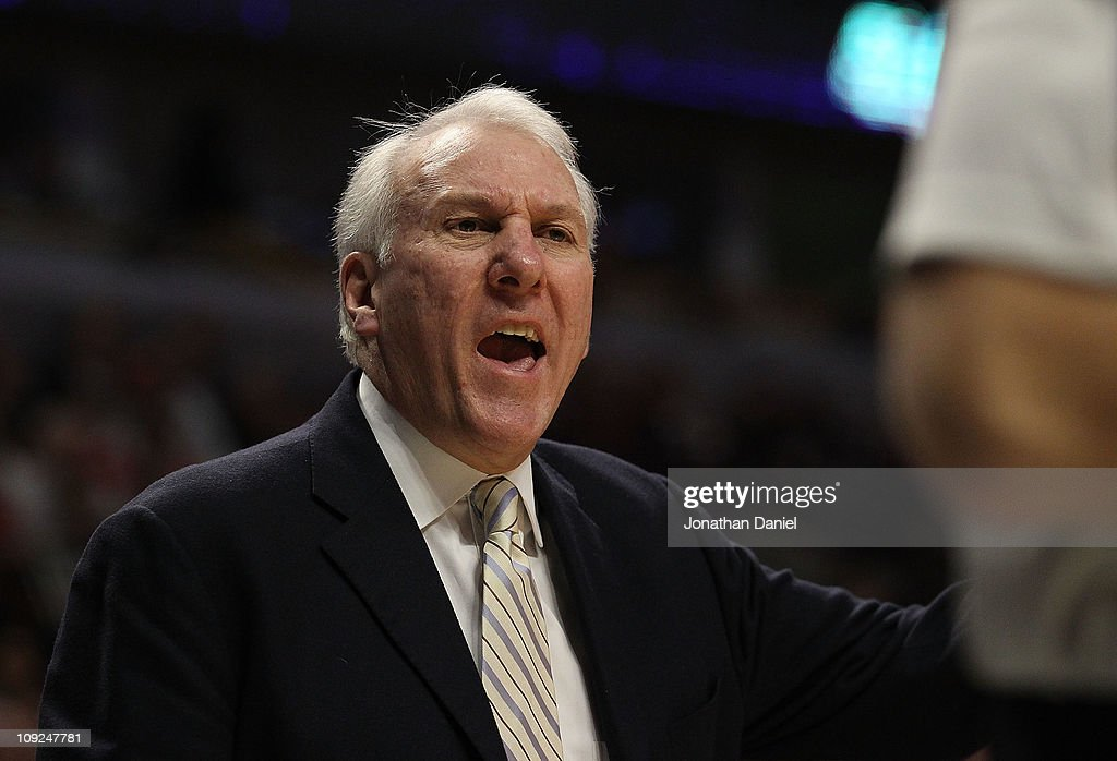 Head coach Gregg Popovich of the San Antonio Spurs yells at a referee during a game against the Chicago Bulls at the United Center on February 17, 2011 in Chicago, Illinois. The Bulls defeated the Spurs 109-99.