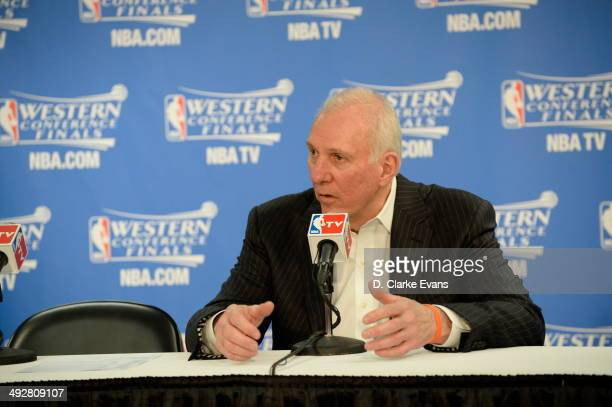 Head Coach Gregg Popovich of the The San Antonio Spurs speaks with the media after the game against The Oklahoma City Thunder in Game Two of the...