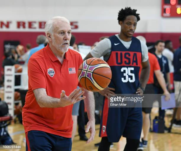 Head coach Gregg Popovich of the United States works with DeMar DeRozan during a practice session at the 2018 USA Basketball Men's National Team...