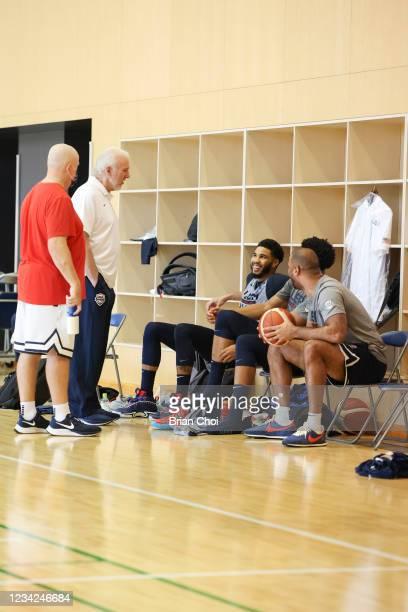 Head Coach Gregg Popovich of the USA Men's National Team talks to Jayson Tatum of the USA Men's National Team during the USAB Men's National Team...