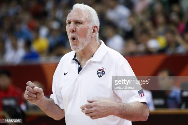 Head Coach Gregg Popovich of USA reacts during the 1st round Group E match between USA and Turkey of 2019 FIBA World Cup at the Oriental Sports...