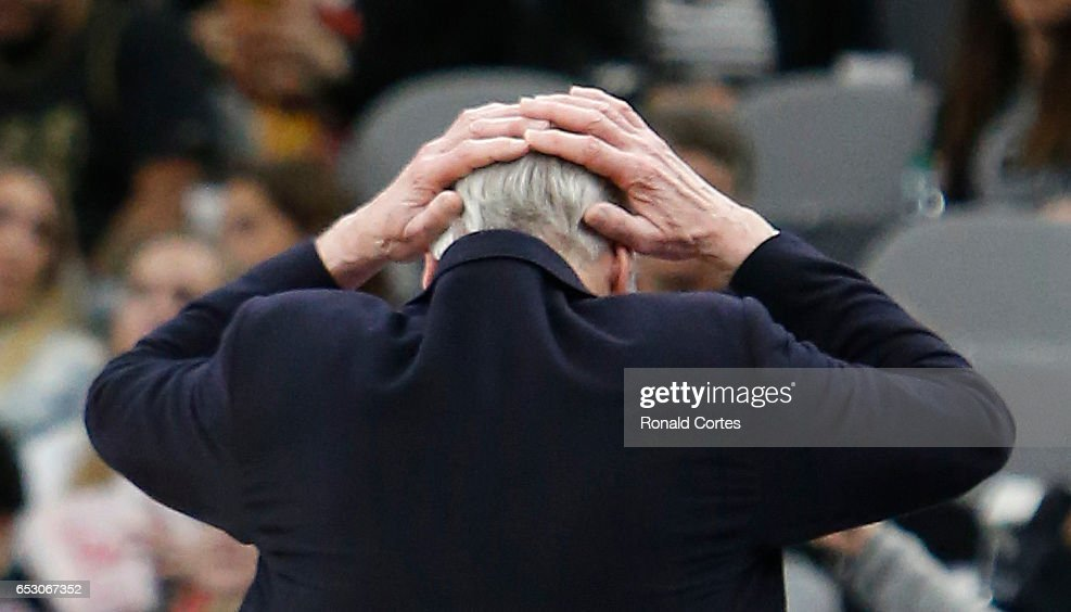 Head coach Gregg Popovich reacts during game against the Atlanta Hawks at AT&T Center on March 13, 2017 in San Antonio, Texas.