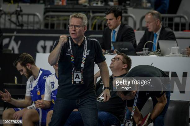head coach Gudmundur Gudmundsson of Iceland gestures during the 26th IHF Men's World Championship group 1 match between Germany and Iceland at...