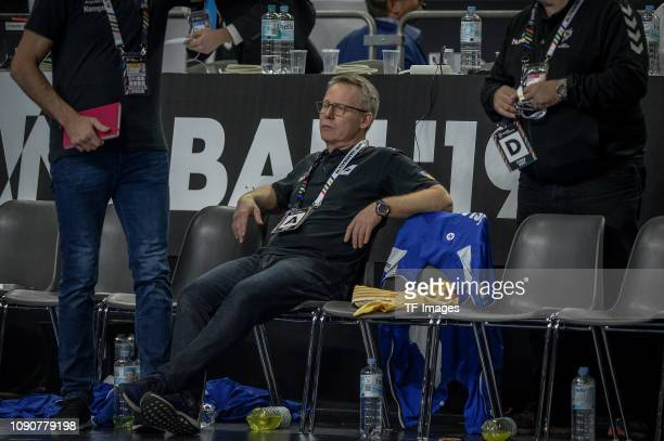 head coach Gudmundur Gudmundsson of Iceland looks on during the 26th IHF Men's World Championship group 1 match between Germany and Iceland at...