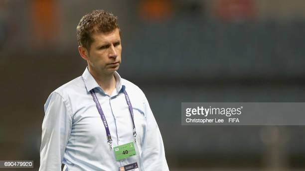 Head Coach Guido Streichsbier of Germany looks dejected after they lose during the FIFA U20 World Cup Korea Republic 2017 Round of 16 match between...