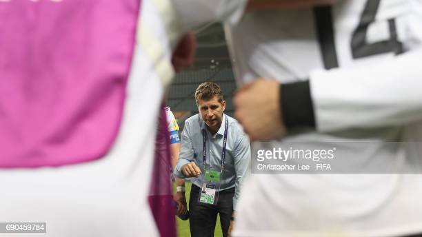 Head Coach Guido Streichsbier of Germany talks to his players before they go into extra time during the FIFA U20 World Cup Korea Republic 2017 Round...